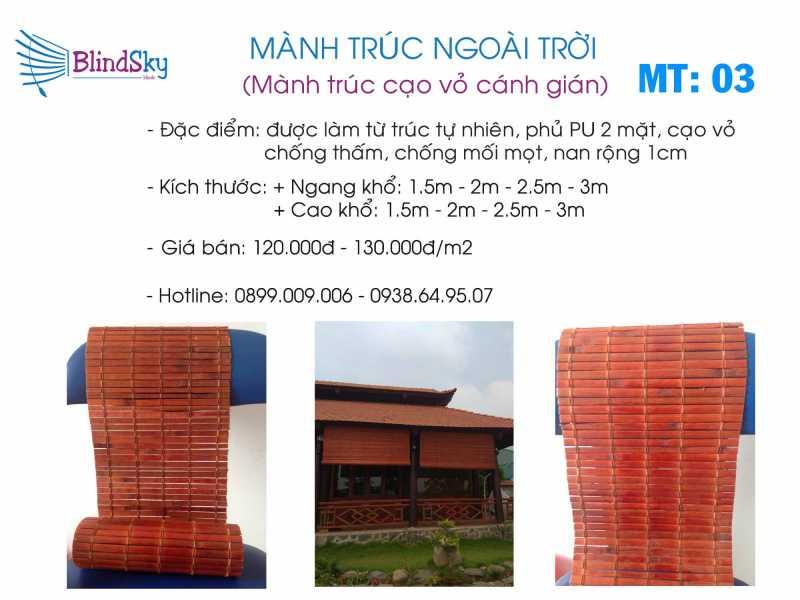 Mẫu mành trúc cạo vỏ giá rẻ màu cánh gián tại TPHCM
