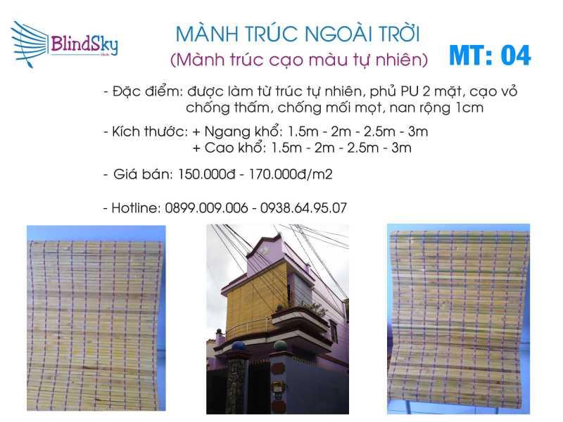 Mẫu mành trúc cạo vỏ màu tự nhiên giá rẻ tại TPHCM